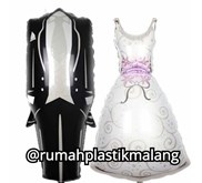 Balon foil wedding dress ( baju pengantin)