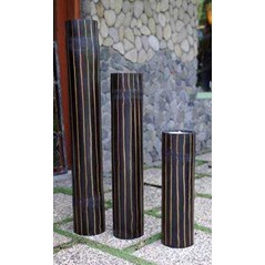 Bamboo candle set of 3 Black & Brown Line