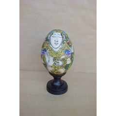 Wooden DUCK egg painting with