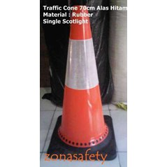 TRAFFIC CONE 70CM RUBBER ORANGE ALAS HITAM