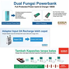 Powerbank Eser Eagle2 6200mAh - Charger Battery 18650 - EU62TYW