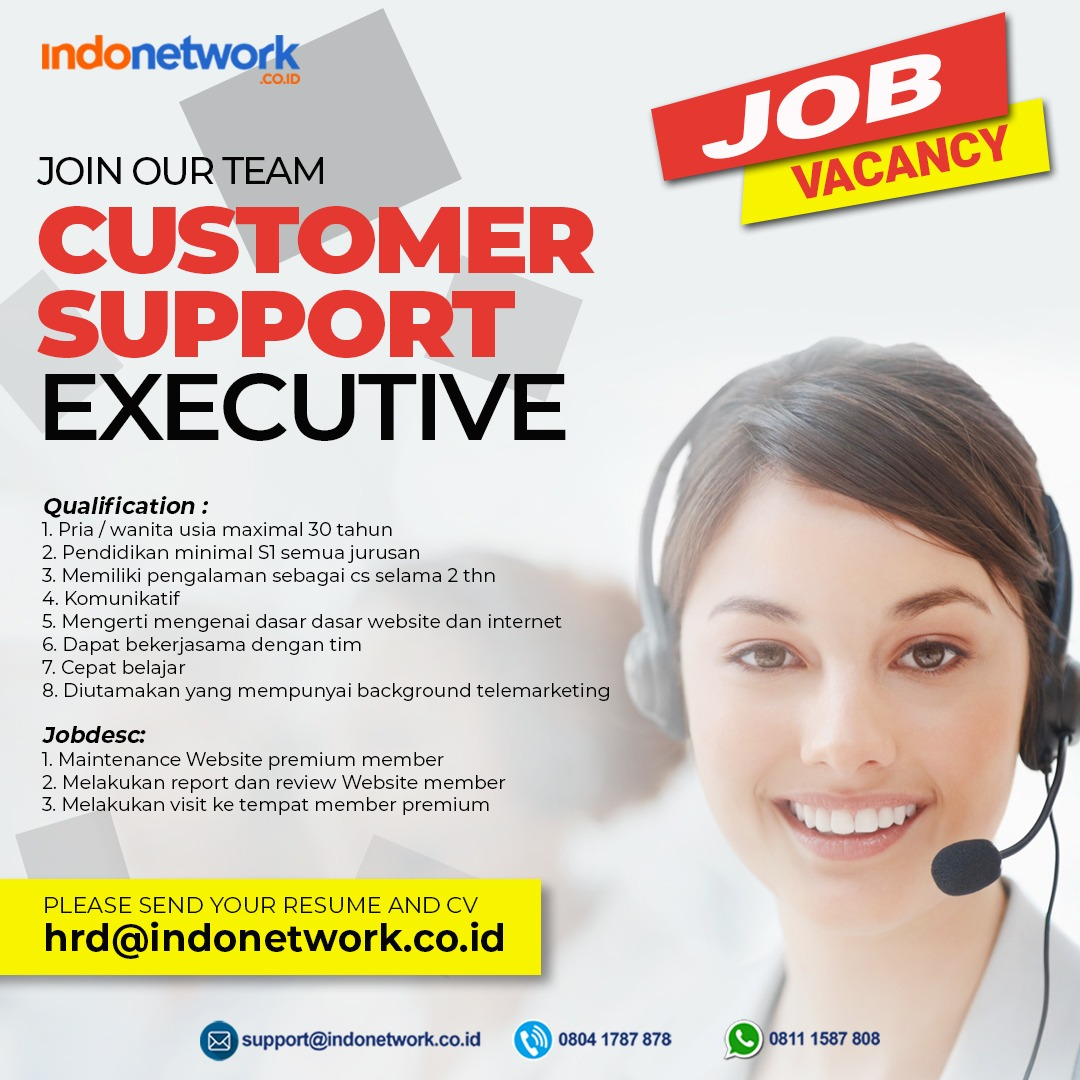 Customer Support Executive indonetwork