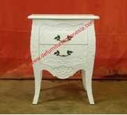 furniture jepara Two drawer bedside table with carving   defurnitureindonesia DFRIBT-55