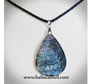 Jewelry Carving Art Shell / Kalung Kerang Oval Ukir