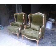 lovely classic gold paper wing chair | french chair lovely wing chair | antique lovely wing chair
