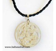 White Mop Shell Necklace Carved / Kalung Ukir Mutiara Bulat