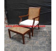 Mebel jepara, back rest with rattan and plus ottoman Chair , French furniture | CV. DE' EF INDONESIA Defurniturendonesia DFRIC-182