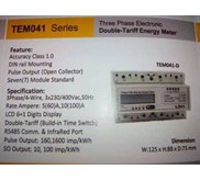 Kwh Meter Elektronik Digital 3Phase Double Tarif THERA TEM041