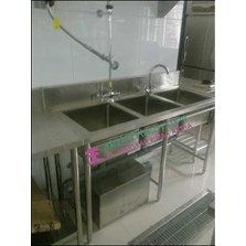 Triple Bowl Sink Table stainless steel