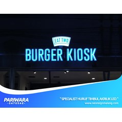 HURUF TIMBUL AKRILIK / ACRYLIC LED ADVERTISING UNTUK EAT TWO BURGER KIOSK