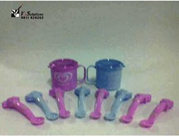 Kids Plastic Glass & collectible spoons