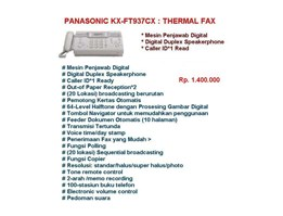 Jual Mesin Fax Panasonic Thermal KX-FT937-CXW