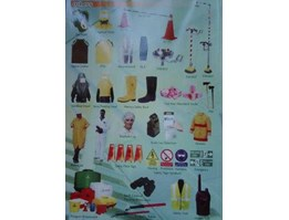 safety equipment, helmet, shoes, gogle, ear plug, mask, rain coat, etc