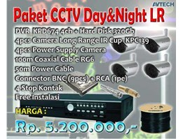 Paket Murah CCTV AVTECH 4 ch Day& Night Long Range