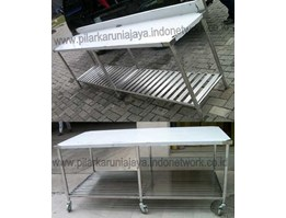 Meja Makan + kursi set stainless | Dining table + chairs set of stainless | Furniture Stainless | Work table stainless | Dish washer | Table single sink | Table double sink | Trolly Salon | Trolly Sauna | Trolly Handuk | Trolly Emergency