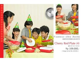 Jual Tupperware Solo  Cherry Red Plate ( 4)