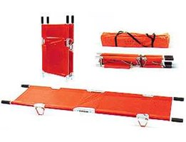 TANDU LIPAT, TANDU, BASKET SRACTHER, TANDU LIPAT ALUMINIUM / ALUMINIUM FOLDING STRETCHER YDC-1A9, TANDU LIPAT ALUMINIUM / ALUMINIUM FOLDING STRETCHER YDC-1A10. Foldable into a quarter of expanded length, very compact and easy to carry