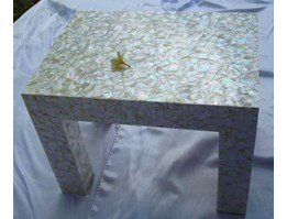 coffe tabel made from white mother of pearl