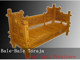 Jual Bale-Bale Bangku Jati Ukir Jepara Model Toraja Finishing Antik Natural Jati | Jual Mebel