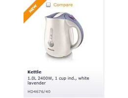 Jual ELECTRIC KETTLE 1 L, 2400 W ( New ) 	 HD 4676 PHILIPS