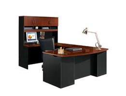 Jual Classic Cherry and Soft Black U-Desk with Hutch Office Desk