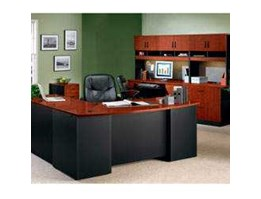 Jual Classic Cherry Soft Black Executive Office Desk