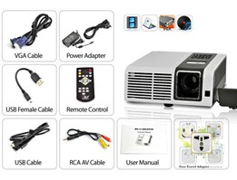 Jual Proyektor portable premium, Portable DLP Projector with VGA, AV