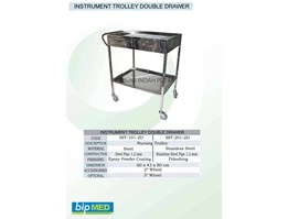Jual Instrument Trolley double Drawer / Meja Instrument 2 Laci