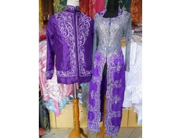 Jual couple panjang couple gradasi satin silver ungu