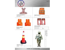 m-3 Slempang safety, Rompi safety, Fire blanket, Traffic Cone, Baju anti api