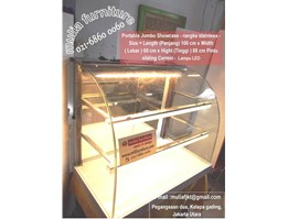 Jual showcase portable, showcase, curved glass, showcase warm