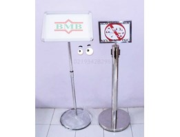 Jual standing signage | floor standing sign | notice holders | tiang display | poster frame | Standing Barrier | tiang display A3 | tiang banner