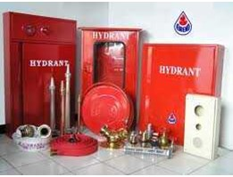 HYDRANT BOX INDOOR AND OUTDOOR, HYDRANT PILLAR ONE WAY, TWO WAY, THREE WAY, PERLENGKAPANNYA, FIRE HOSE SELANG KEBAKARAN, JET SPRAY NOZZLE BRANCH PIPE WITH TIP JET NOZZLE, ALL BRASS, HOSE RACK 24 COMB 1, 5, 2, 5 MACHINO COUPLING, STOR