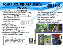 POMPA AIR TENAGA SURYA PS-200 LORENTZ