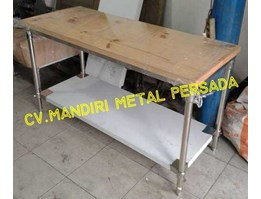 Jual Stainless Steel Working Table Top Wood With Under Shelf