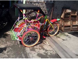 Jual becak mini ukuran roda 20in