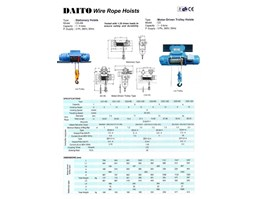 Jual DAITO ELECTRIC WIRE ROPE HOIST 2 TON 6 METER