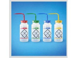 Safety Label Wash Bottle - Wide Mouth, Color Coded