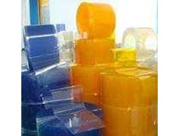 Jual PVC Blue Clear Ribbed Tirai Yellow Natural