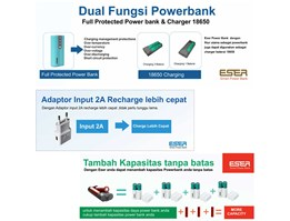 Jual Powerbank Eser Eagle2 12400mAh - Charger Battery 18650 - EU124TGB