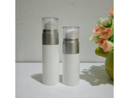 Jual Botol Airless Matt White neck silver 20ml & 30ml