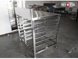 Jual Meja Stainless Steel for Bakery dengan 12 Tray rak Loyang