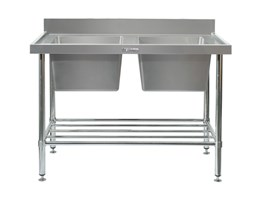 Jual DOUBLE SINK BENCH WITH SPLASH BACK