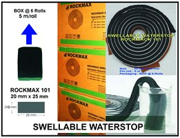 Jual SWELLABLE WATERSTOP ROCKMAX 101 ( 25 mm x 20 mm)