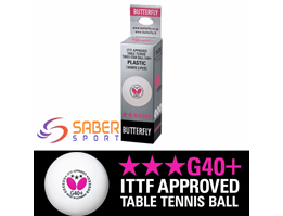 Bola Pingpong Butterfly 3Star 40+ Putih Germany