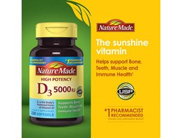 Jual Nature Made Vitamin D3 5000IU, 220 Softgels.