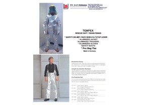 BAJU ALUMINIZED CELANA PANT JACKET COAT SARUNG TANGAN SUIT JACKET PANTS GLOVES, BOOTS, HOOD, BLUE EAGLE Fire Rescue Suit, Aluminized Jacket, Pants, Gloves, Neck Cover, Safety Helmet, Safety Boots, PVC Bag click : www.elje4firesafety.com