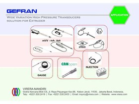 APPLICATION - GEFRAN - Wide Variation High Pressure Transducers for Extrusion
