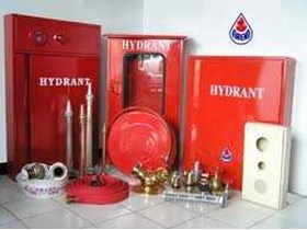 HYDRANT BOX INDOOR AND OUTDOOR, HYDRANT PILLAR ONE WAY, TWO WAY, THREE WAY, PERLENGKAPANNYA, FIRE HOSE SELANG KEBAKARAN, JET SPRAY NOZZLE BRANCH PIPE WITH TIP JET NOZZLE, ALL BRASS, HOSE RACK 24 COMB 1, 5