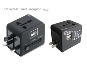 Square Travel Adaptor with USB and Fuse